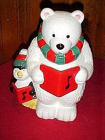 Caroling bear and penguin cookie jar, for Federated