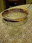 Indiana, Kings crown compote, crystal with gold rim