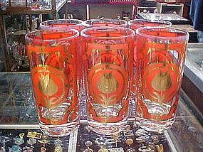 Set of 6  retro orange/ & 24 kt gold tulip glasses