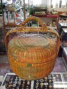 Old woven  basket with lid and handle, sewing?