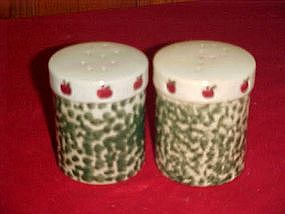 Green sponged  salt and pepper shakers with apples