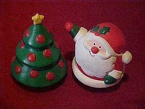 Hallmark Cards, Santa and Christmas tree, shakers