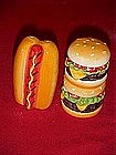 Hamburger and hot dog, ceramic salt and pepper shakers