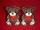 Wicker look ceramic teddy bears, salt and pepper set