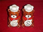 Large Teddy Bear chef ceramic salt and pepper shakers