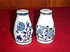 Blue onion porcelain salt and pepper shakers,
