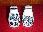Blue onion porcelain salt and pepper shakers,