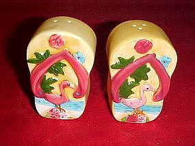 Pink flamingo tropical salt and pepper set