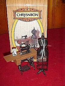 Chrysnbon Tredle sewing machine and dress form