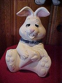 Doranne silly rabbit cookie jar, blue sponge scarf
