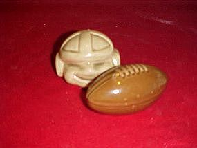 Football player and football, salt and pepper shakers