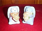 Blue bunny  salt and pepper shakers, hangs on