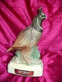 Ezra Brooks quail  whiskey decanter, 1970