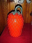 Tall strawberry cookie jar, older pottery