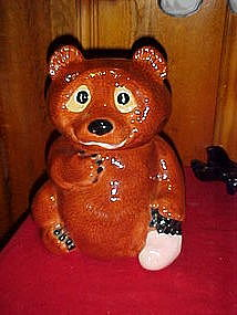 Little brown bear cookie jar