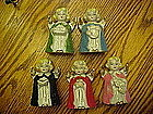 Set of 5 old china Christmas Angels with instruments