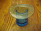 Blue crackle glass hat, Blenko??