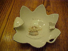 Holly Hobbie cat,  porcelain leaf dish / ashtray 1975