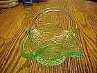 Small green basket weave glass basket, applied handle