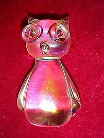 Hand blown owl paperweight, irridized