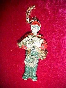 Fisherman and fish ornament