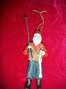 Santa Claus fishing, Christmas ornament
