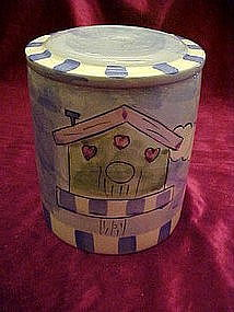 Hand painted treat/cookie jar with birdhouse