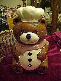 Chef bear with mauve kerchief, cookie jar