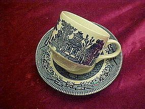 Blue willow cup and saucer, Churchill England