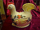 Retro 60's hen / chicken cookie jar, hand painted Italy