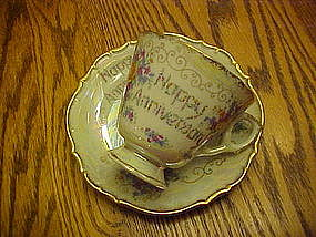 Happy Anniversary fine china cup and saucer by Norleans