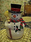 Snowman cookie jar , hat scarf & broom