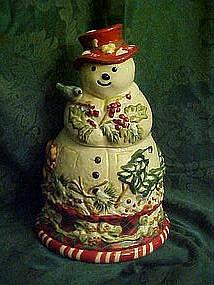 Jolly ol' Snowy cookie jar, large woodland snowman
