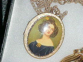 Large vintage locket with lady portrait
