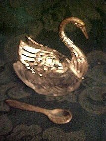 Swan salt dip with spoon, crystal & silver plate