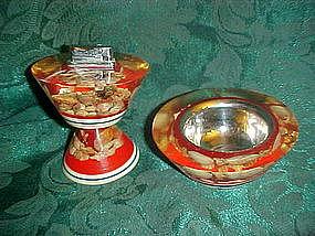 Lucite / resin sea shells ashtray and lighter set