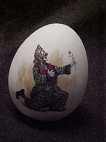 Collectible porcelain egg with romantic clown