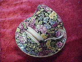 Marlborough black chintz cup and saucer, England