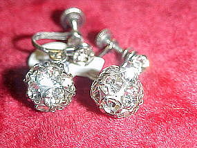 Vintage crystal rhinestone  dangle ball earrings