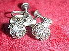 Vintage crystal rhinestone  dangle ball earrings
