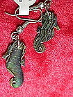Abalone seahorse earrings for pierced ears