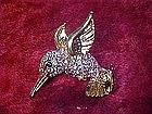 Rhinestone hummingbird pin