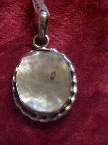 Natural abalone shell and sterling pendant