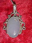 Handcrafted sterling pendant with large moonstone