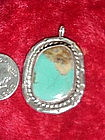 Handcrafted vintage turquoise and silver pendant