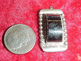 Vintage Mexico silver and onyx pendant