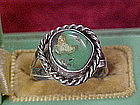 Handmade vintage sterling and turquoise  ring