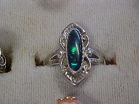 Ladies sterling silver ring with dark blue opal stone
