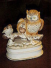 Owls and bird musical figurine, winter snow