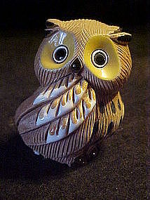 Signed owl figurine, pottery